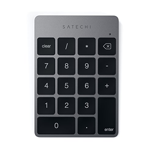 Satechi Slim Tragbares Aluminium Bluetooth Wireless 18 - Tasten Keypad/Tastatur/Nummernblock für Dateneingabe in Excel und Zahlen für iMac, Macbook, Macbook Pro, Laptops, Arbeitsstationen (Space Grau)