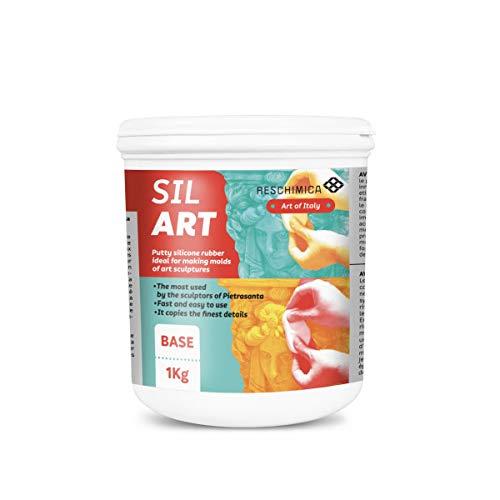 RESCHIMICA SIL ART (1kg) - Gomma siliconica in pasta per applicazioni verticali e grandi dimensioni (catalizza in 5h). Ideale per scultori e modellisti