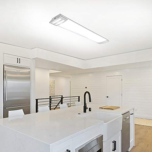 4FT LED Flush Mount Kitchen Light Fixture 50W, 5500lm 48 Inch LED Puff Lights, 4000K Neutral White, 4 Foot Kitchen Ceiling Lights for Utlity Room, Laundry, Fluorescent Replacement, ETL Certified