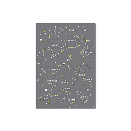 xwwnzdq sterrenbeeld ster kaart kinderkamer kind poster canvas muurkunst print schilderijen Nordic Kids decoratieve afbeelding baby slaapkamer decor 50x70cm niet-ingelijst