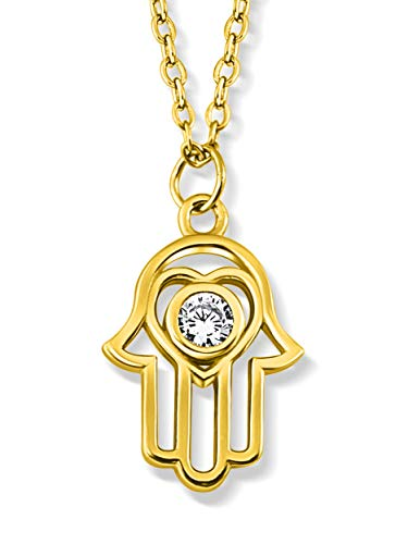 VIASOUL® Halskette Hand der Fatima I Hand Kette für Damen aus 925er Silber I Mit 585er Gold überzogen I Die Original Hamsa Kette