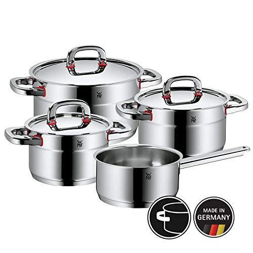 WMF Premium One Topfset 4-teilig, Cromargan Edelstahl poliert, Töpfe mit Metalldeckel, Topf Induktion, Innenskalierung, Dampföffnung, unbeschichtet