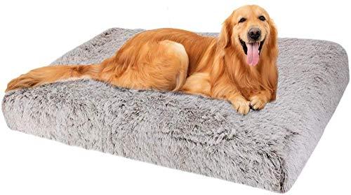 Almohada ortopédica para Perros Grande con colchón de Espuma viscoelástica para Perros Diseño ergonómico Cama Lavable Antideslizante para Perros pequeños y medianos-XL-100X60CM_marrón
