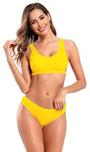 SHEKINI Dames Vest Bikini Set Geribde Cut Out Strandmode Sportief Low Waist Zwart broek gevoerde tweedelige bikinis