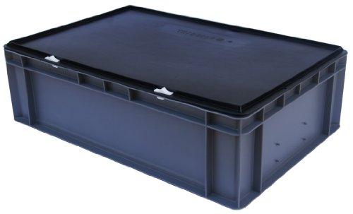 Lagerbehälter / Euro-Transport-Stapelbox KTK 600/145-0, grau, mit Verschlußdeckel, 600x400x156 mm (LxBxH)