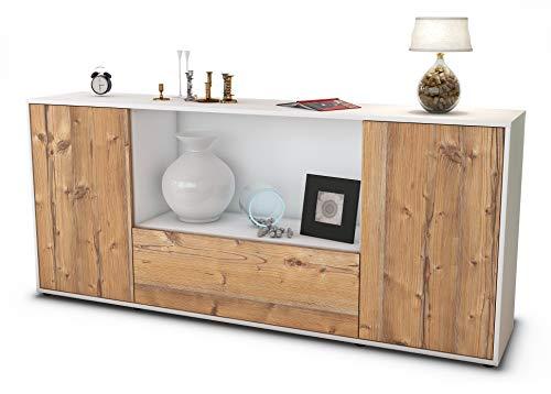 Stil.Zeit Sideboard Ella/Korpus Weiss matt/Front Holz-Design Pinie (180x79x35cm) Push-to-Open Technik
