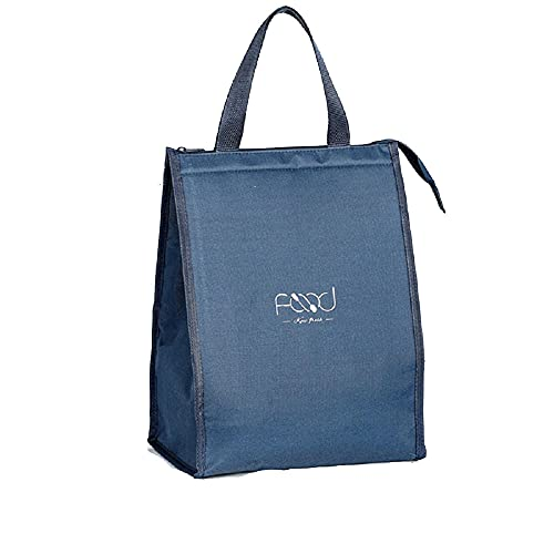 Lunch Box-Insulation Bag Reusable Lunch Box Waterproof Container Canvas Lunch Bag with Aluminum Foil Portable Lunch Tote Bag Cute Lady Tote Bag Men Adult Work Picnic (Blue, X-Large)