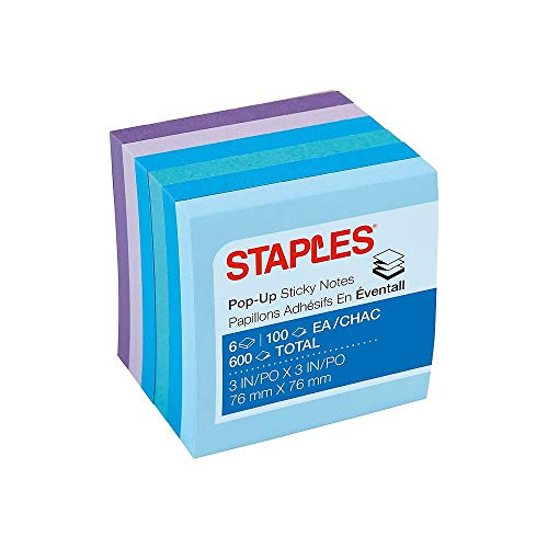 Staples Stickies 3' x 3' Assorted Watercolor Pop-Up Notes, 6/Pack of 100= 600 Notes Pads