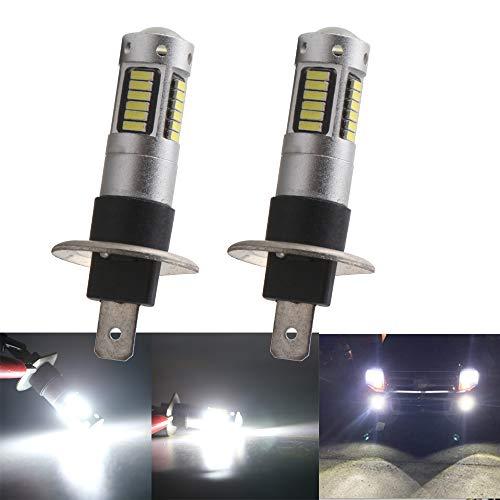 Qasim H1 Auto LED LED Nebbia lampadine 4014 ha portato Chips 30SMD Daytime Running Light Auto Fog Lampada Nebbia Luce Diurna Guida Lampadina Lente Bianco 6500K-8000K 12V (Confezione da 2 Pezzi)