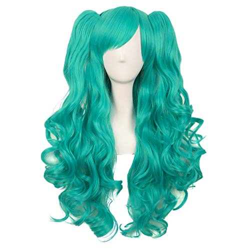 MapofBeauty 28 Inch/70cm Lolita Long Curly 2 Ponytails Clip on Cosplay Wig (Teal Green)
