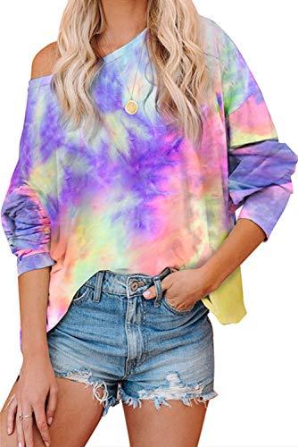 Mosucoirl Mujeres Tie Dye Tops Sudadera Moda Cuello Redondo Casual Manga Larga Top Camisetas Acogedor pulóver de Gran tamaño Blusa Suelta (Púrpura Colorido, L)