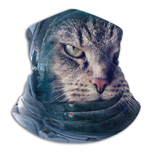 ShiHaiYunBai Tour de Cou Cagoule Microfibre Chapeaux Tube Masque Visage, Astronaut Cat Fleece Neck Warmer - Reversible Neck Gaiter Tube, Versatility Ear Warmer Headband & For Men And Women
