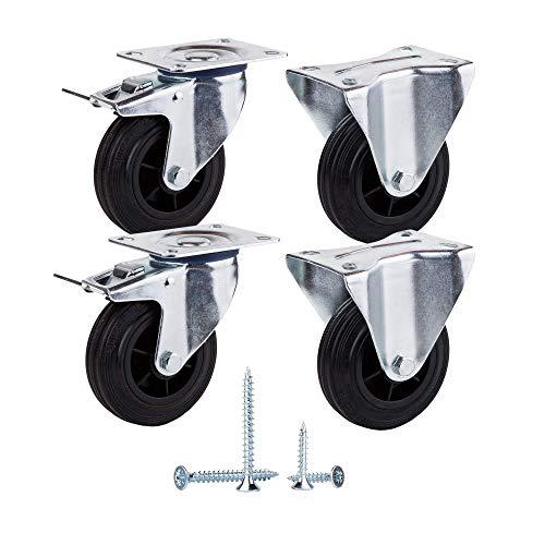 (Paquete de 4 piezas) Ruedas giratorias de goma de movimiento suave de 100 mm Ruedas con placas de metal Ruedas Carro industrial (4, 2 con frenos + 2 unidireccionales)