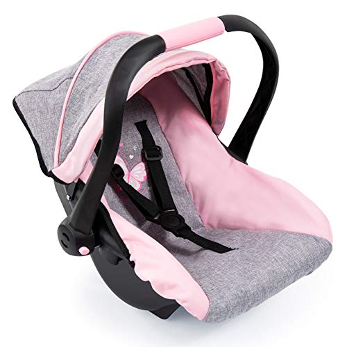 Bayer Design 67933AA Toy, Car Seat Easy Go for Neo Vario Pram with Cover, Doll Accessories, Pink, Grey with Butterfly