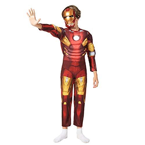 Iron Man Armor Mark 7 Traje De Cosplay para Niños Traje De Mono De Estilo Muscular Ropa De Halloween,Iron Man- 120~130cm