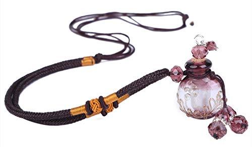 [トムタスク] アロマ 香水 ペンダント 香水瓶 ネックレス アンティーク フレグランス ボトル 瑠璃瓶 ガラス 綿紐 アクセサリー 香水入れ 携帯 (パープル)