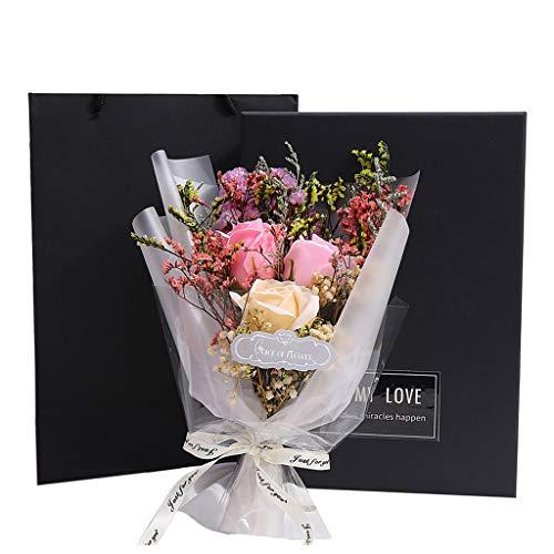 Meilily Romantik Blumenstrauß Rose Seife Blume mit Geschenkbox Geschenktüte/Künstliche Bouquets Brautstrauß Dekoration Rosenduft Badeseife Blumen Deko Hochzeit/Valentinstag/Weihnachten