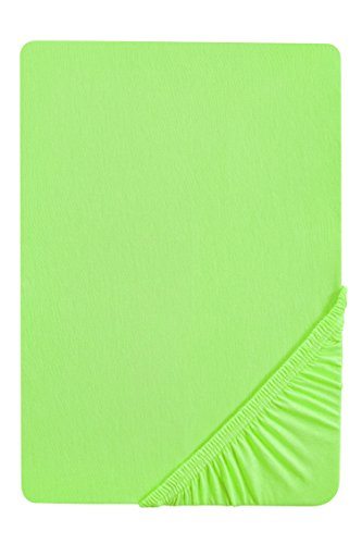 #38 biberna Jersey-Stretch Spannbettlaken, Spannbetttuch, Bettlaken, 180x200 – 200x200 cm, Hellgrün