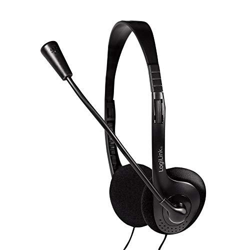 LogiLink HS0001 - Stereo Headset Leichtgewicht mit drehbarem Mikrofonarm und Lautstärkeregelung am Kabel, ideal für Home Office, Facetime, Videochat