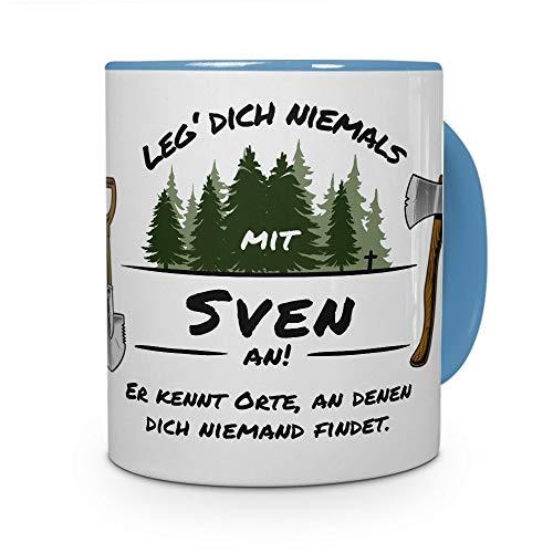 printplanet Tasse - Leg Dich Nicht mit Sven an - Namenstasse, Kaffeebecher, Mug, Becher, Kaffeetasse - Farbe Hellblau