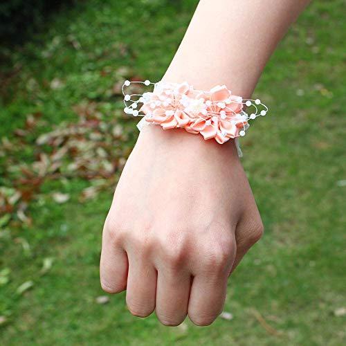 Miaoyu - Polso da sposa con fiore avorio bianco, da matrimonio, da polso, per damigelle, damigelle, da polso, bouquet da sposa (colore: Rosa conchiglia)