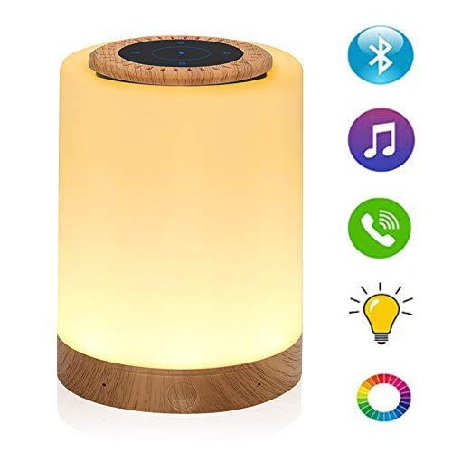 Caxmtu Luz nocturna de color con altavoz Bluetooth, táctil regulable para mesita de noche, luces de estado de ánimo, iluminación blanca cálida + color RGB, recargable