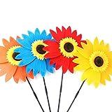 Tomyeer - Molinillo de viento grande de girasol, diseño de girasol, multicolor, 36 cm de diámetro, 3 unidades, color al azar