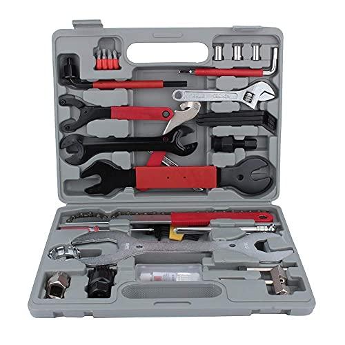 Herramienta para bicicletas, kit de reparación de bicicletas de 44 piezas, llave cónica, extractor de manivela sin dientes, llave de pedal.