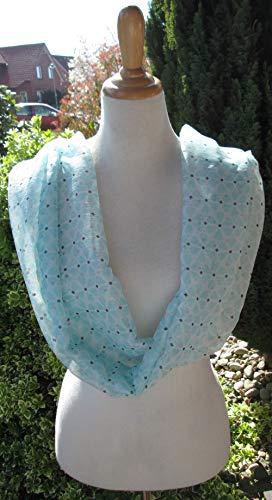 traumhafter leichter Schal aus Chiffon weiß hellblau marine Geschenk f. Geburtstag Muttertag