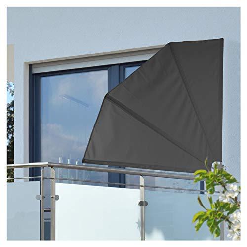 Balkon Sichtschutz 120x120 cm - mit Wandhalterung - Seitenmarkise - Viertelkreis - Balkonfächer - Windschutz - Wandklappschirm - Wandschirm - Trennwand - Balkonfächerschirm Sonnenschutz Fächermarkise