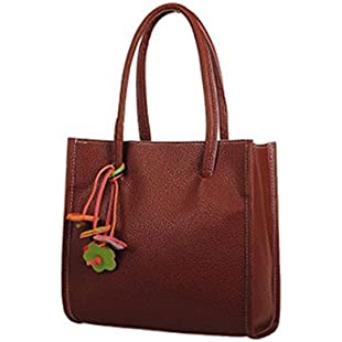 Quistal Women's Handbags Ladies Tote Large Capacity Shopping Bags Leather Top-Handle Bags Fashion Shoulder Bags (Brown)