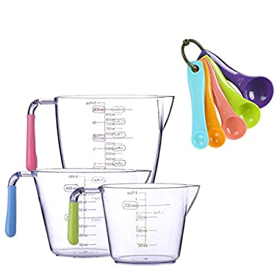 Measuring Cups & Spoons Set? 3 Kitchen Measuring Cups + 5 Kitchen Measuring Spoons for Dry & Wet Ingredients - Plastic - Multicolored