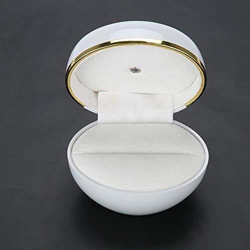 3.43 X 2.91 X 2.76 Pulgadas Caja de regalo de joyería LED, Caja de anillo portátil, Exquisito aniversario de fibra de madera para propuesta de boda(White)