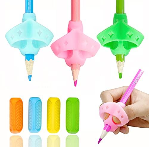 8 Packs Bleistift Griffe, Schreibhilfe Stift Griff für Kinder Handschrift, Silikon Ergonomisches Stifthalter Grip kind Finger Griffe Halter Handschrift Werkzeug für Rechtshänder