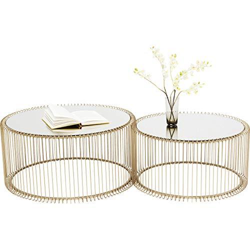 Kare Design Couchtisch Wire Gold 2er Set, runder, moderner Glastisch, großer Beistelltisch, Kaffeetisch, Nachttisch, Messing (H/B/T) 30,5xØ60cm & 33,5xØ69,5cm