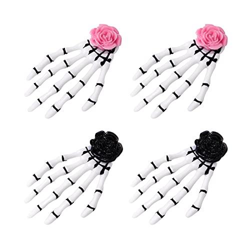 FRCOLOR Horquillas de 4 Piezas con Garra de Cráneo Tocado Punk con Garra de Hueso de Esqueleto Y Decoración de Flores Rosas para Mujeres ( Rosa )