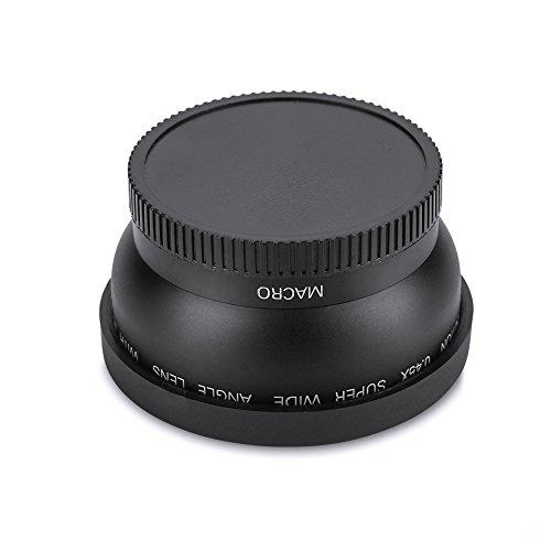 EBTOOLS Obiettivo macro conversione grandangolare universale da 52 mm 0.45X, obiettivo close-up per fotocamera Canon Nikon Sony (nero) adatto per obiettivo grandangolare