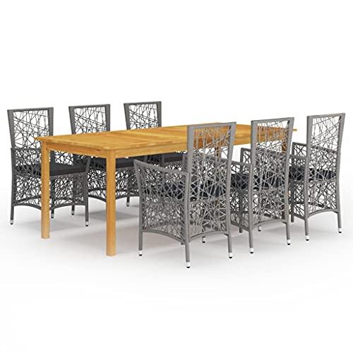vidaXL Gartenmöbel Set 7-TLG. Sitzgruppe Gartengarnitur Gartenset Sitzgarnitur Esstisch Tisch Stühle Sessel Gartensessel Gartentisch Grau