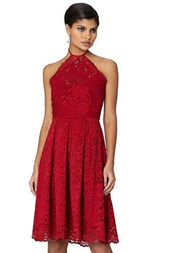 Marca Amazon - TRUTH & FABLE Vestido Cuello Halter de Encaje Mujer, Rojo (Jester Red), 40, Label: M