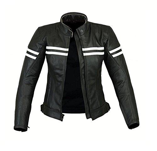 REXTEK Motorradjacke Fur Damen - Echtlederjacke - Biker Lederjacke Damen Stilvolle warme Jacke - Black 3Xtra Large