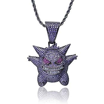 Gengar Purple Cubic Zirconia Hip Hop Pendant Necklace for Fans Classic Collection