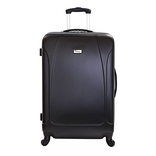 Karabar Extra Large Hard Suitcase Luggage Bag XL 76 cm 4.4 kg 100 litres with 4 spinner wheels, Evora Black