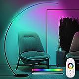 Lámpara de pie curvada Color RGB, Luz de Piso Salón Regulable Minimalista Moderna, 25W Lampara pie Arco LED Acabado Aluminio, para Salon Dormitorio Estudio y Leer Luz, 170CM,Negro