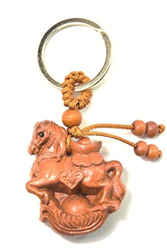 Llavero Caballo de Madera con Lingotes de oro para atraer el dinero