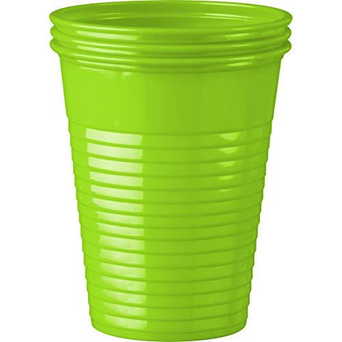 wellsamed 144988 100 Stück Einwegbecher Hellgrün Plastikbecher Trinkbecher Becher Kunststoff Einweg 0,18 Liter
