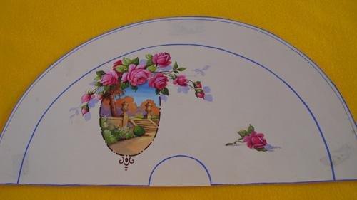 Antiguo País en papel - ACUARELA Original para ABANICO - Tema floral....