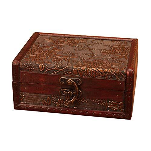 Joyero, caja de almacenamiento de madera con cerradura, organizador para collares, pendientes, estilo aleatorio