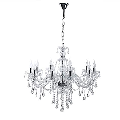 Ridgeyard 15 Lights Luxurious K9 Crystal Chandelier Candle Cognac Pendant Lamp Ceiling Lighting for Dining Living Room Bedroom Hallway Entry (15 Lights Cognac Color)