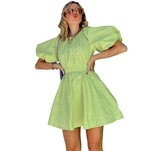 Women's Dress Spring and Summer Green Design Halter Elegant Ladies Dress Puff Sleeve Long Skirt Sexy Casual European and American Style Shirt Skirt