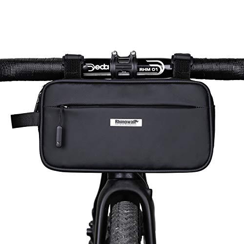 Borsa da Bicicletta Borsa da Manubrio Borsa da Telaio Impermeabile Borsa da Tubo Superiore Borsa a Tracolla Borsa Marsupio per Mountain Bike MTB Bici da Strada Cellulare Guanti Chiave (Nero)